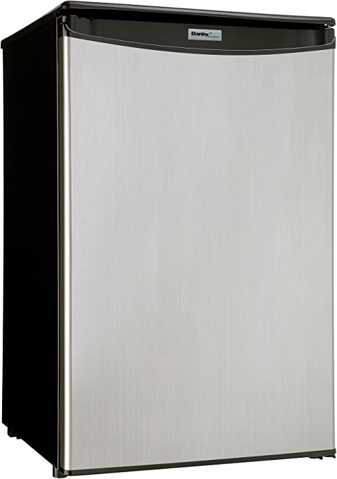 Danby DAR044A4BSLDD-6 Designer Mini Fridge - 4.4 Cubic Foot - Stainless Look