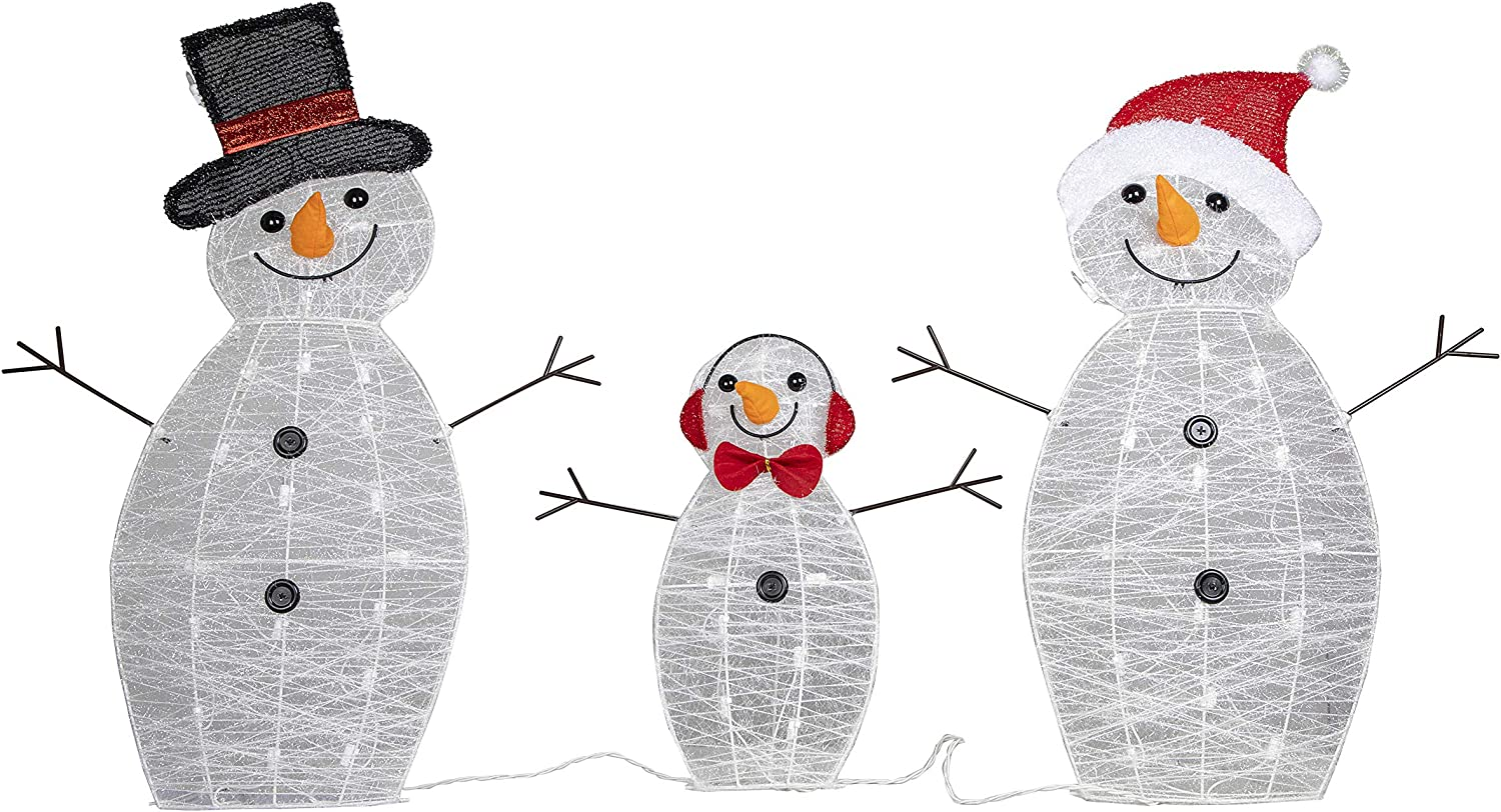 """Design Accents 31"""" H Set of 3 Pre-lit Snowman Family Christmas Outdoor Yard Decoration with Lawn Stake and Plastic tie (Snowman)"""