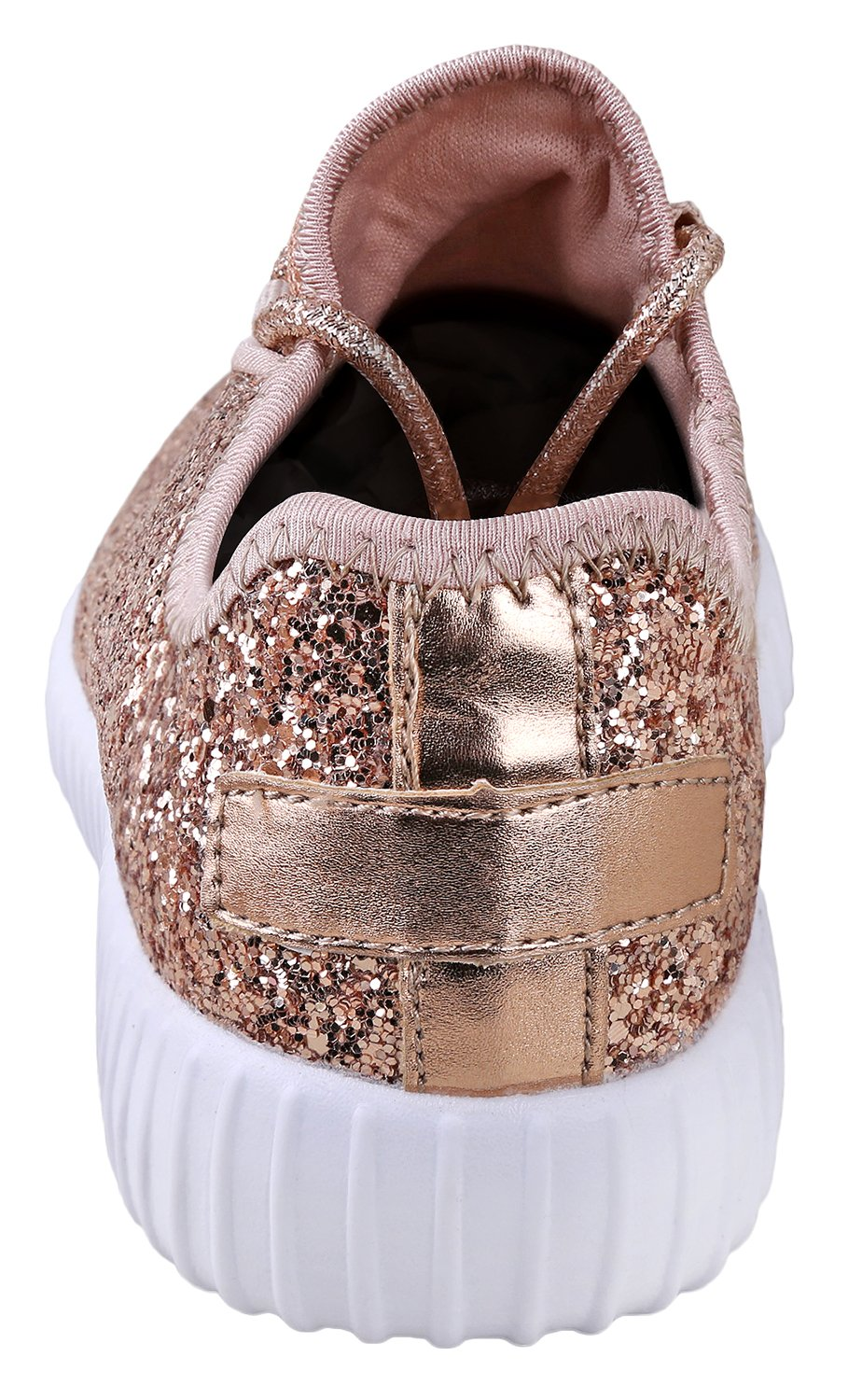 JKNY Kids Girls Fashion Metallic Sequins Glitter Lace up Sneakers Rose Gold 9 by JKNY (Image #3)
