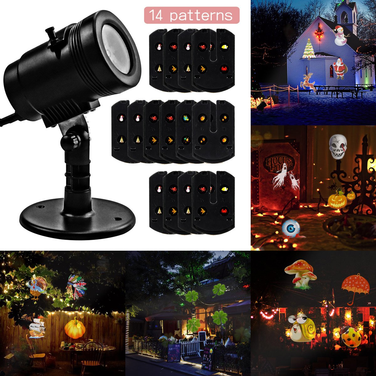 lychee Summer Party Decorations Projector lights outdoor Moving Rotating Projector LED Spotlights Waterproof projection Led lights w/14pcs Switchable pattern lens for Summer Graduation Decoration.