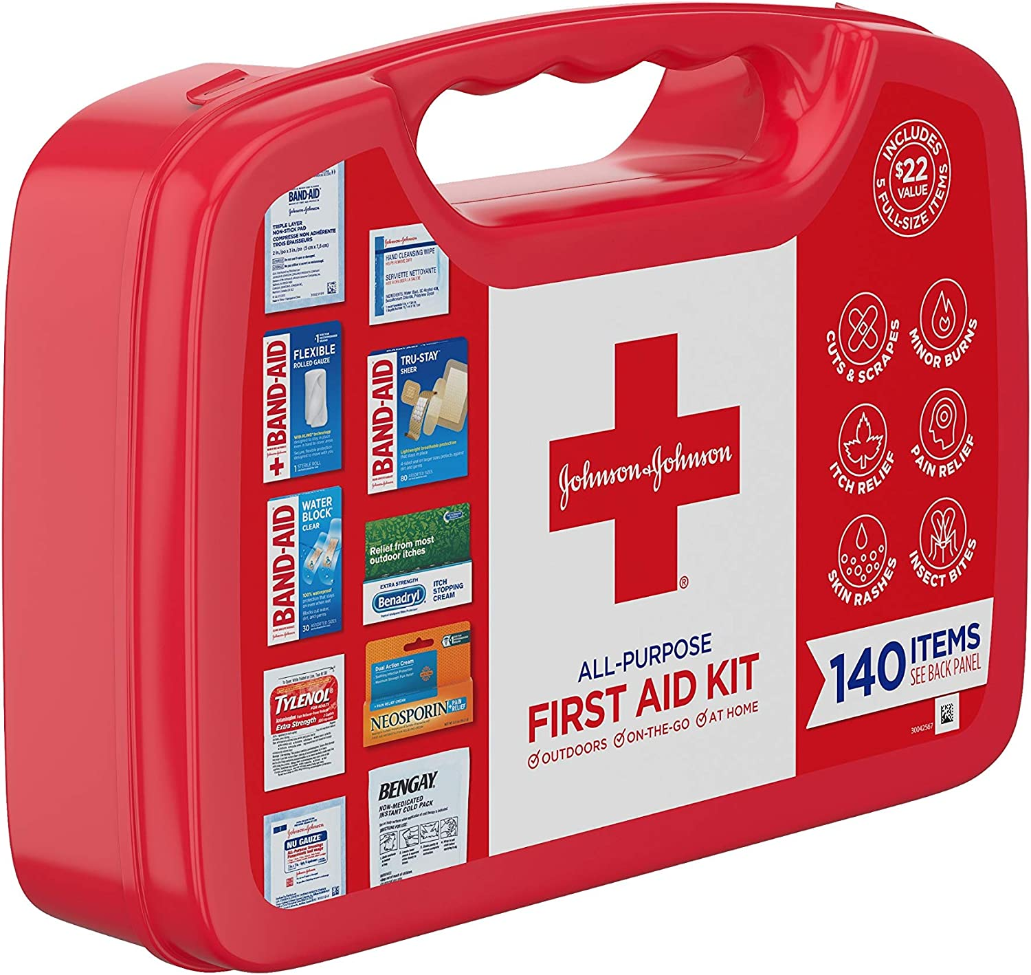 Johnson & Johnson All-Purpose First Aid Kit, Portable Compact First Aid Set for Minor Cuts, Scrapes, Sprains & Burns, Ideal for Home, Car, Travel and Outdoor Emergencies, 140 pieces: Health & Personal Care