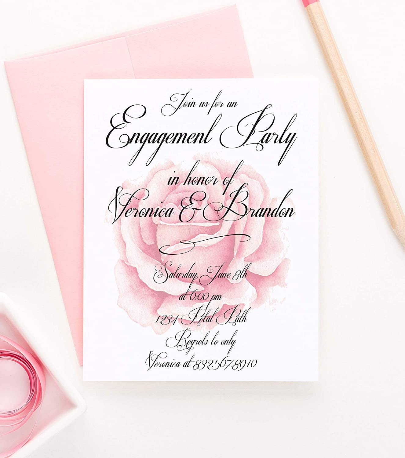 Rustic Floral Engagement Party Invitation Elegant Engagement Party Invitation Your choice of Quantity and Envelope Color