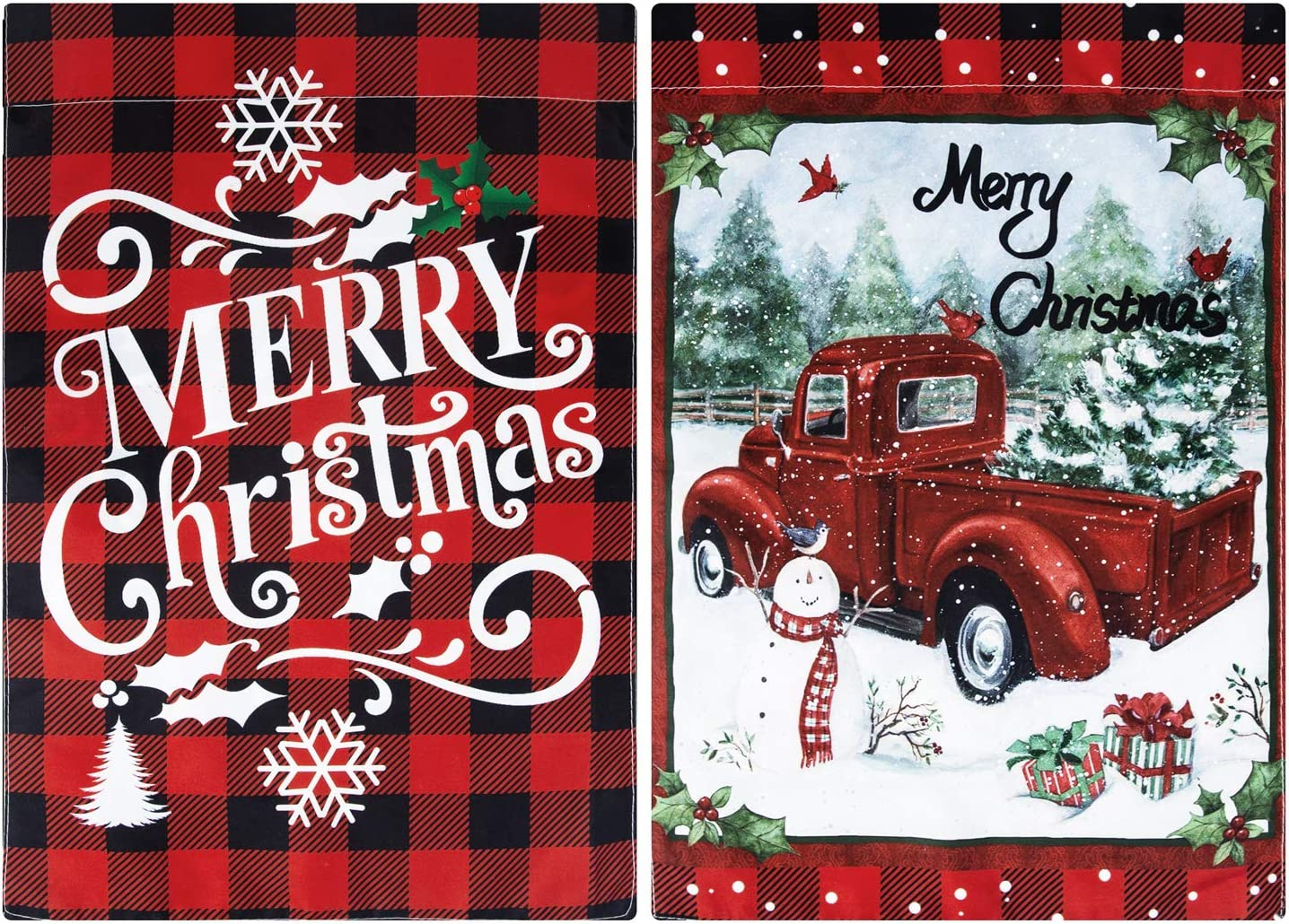 Unves 2 Pack Decorative Merry Christmas Garden Flags 12.5 x 18 Double Sided Red Truck Flag, Red Black Buffalo Merry Christmas Yard Flag, Decorative Winter Holiday House Yard Farmhouse Flags