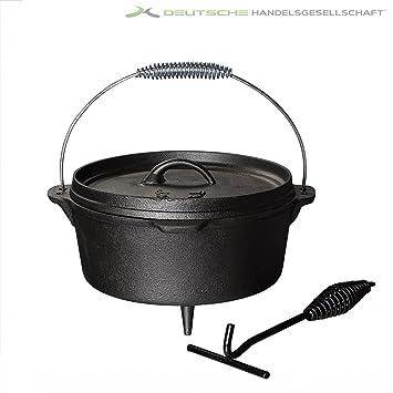 Dutch Oven 4, 3 - 13 Litros Barbacoa Barbacoa ollas Hierro Fundido Hierro - Cacerola con pies: Amazon.es: Jardín