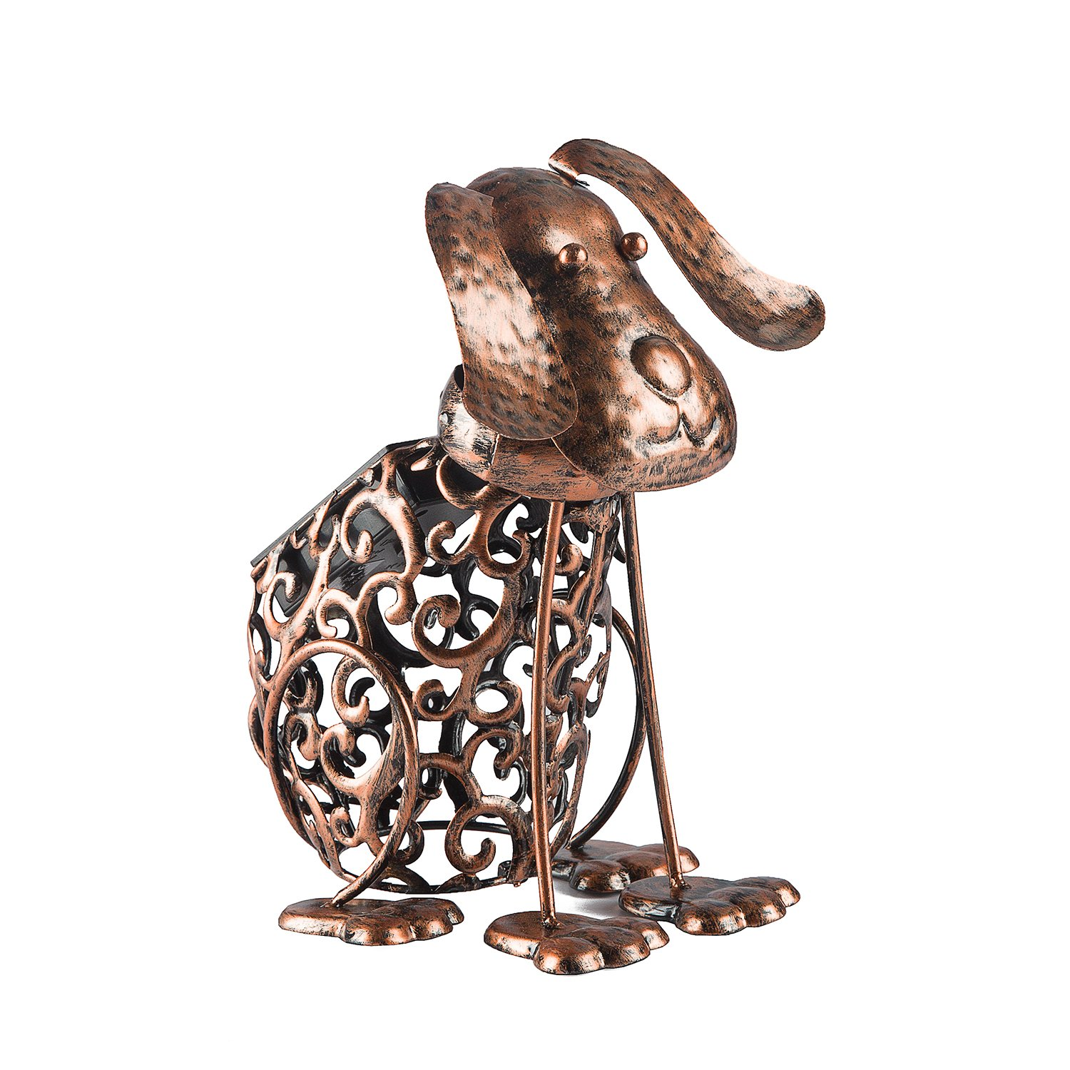 Solar Light Outdoor Decorative Metal Animal- BroGarden Cute Dog Non-Knockdown Figurine Decor