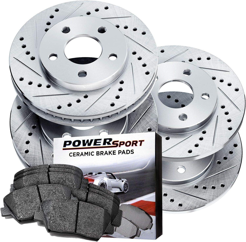 80349 Power Sport Cross Drilled Brake Rotors and Ceramic Brake Pads Kit REARS
