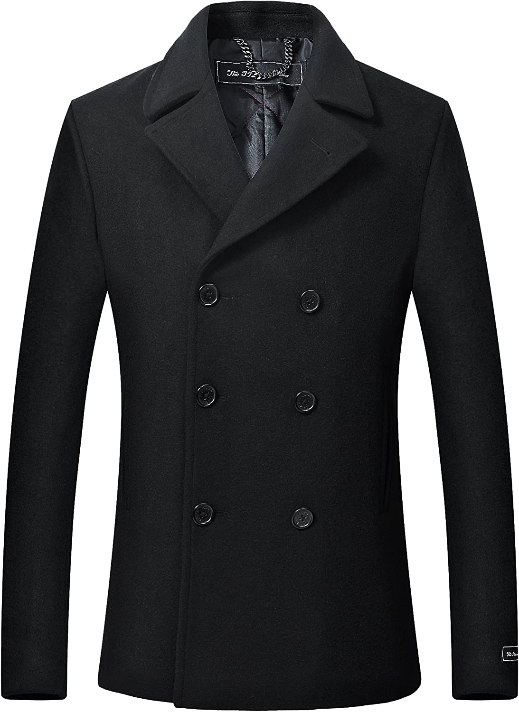 TALLA 58 (3XL). The Platinum Tailor Negro para Hombre de Lana y Cachemira Chaquetón Doble de Pecho Abrigo de Invierno Caliente Pesada