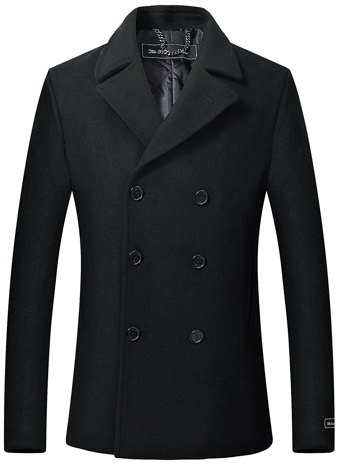 The Platinum Tailor Mens Black Wool & Cashmere Pea Coat Double Breasted Heavy Warm Winter Overcoat Cromby