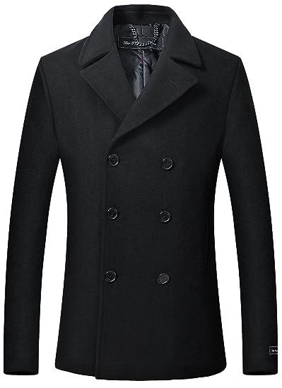 The Platinum Tailor Herren schwarz Wolle & Cashmere Peacoat zweireihig Mantel warme Wintermantel