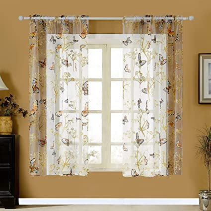 YOKISTG Butterfly Sheer Curtains 63 Inch Length Rod Pocket Voile Short  Window Curtains for Kids Bedroom Nursery Small Window, 2 Panels