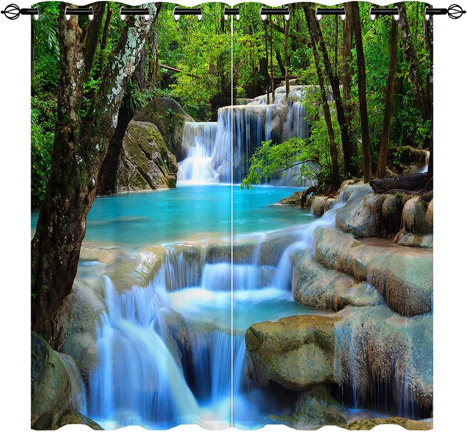 ANHOPE Waterfall Curtains Nature Scenery Theme Window Drapes with Forest Tree Waterfall Landscape Mossy Rocks Print Pattern Grommet Room Decor Curtains for Bedroom Living Room, 2 Panels, 42 x 63 Inch