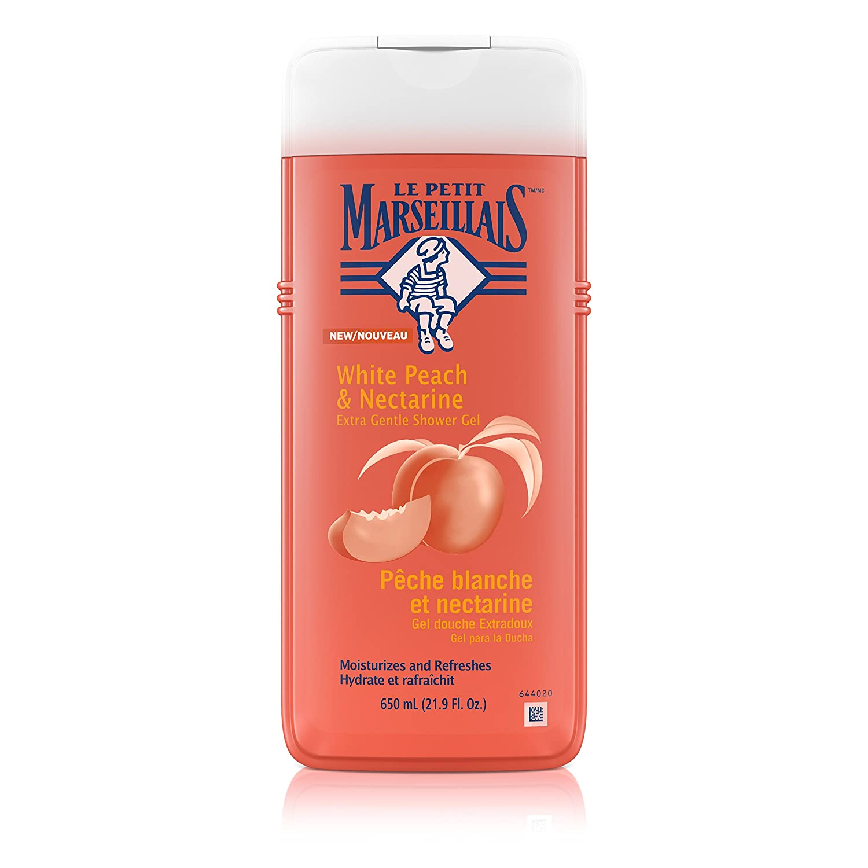 Le Petit Marseillais Extra Gentle Shower Gel with White Peach & Nectarine, Moisturizing & Nourishing French Body Wash pH Neutral for Skin, 21.9 fl. oz
