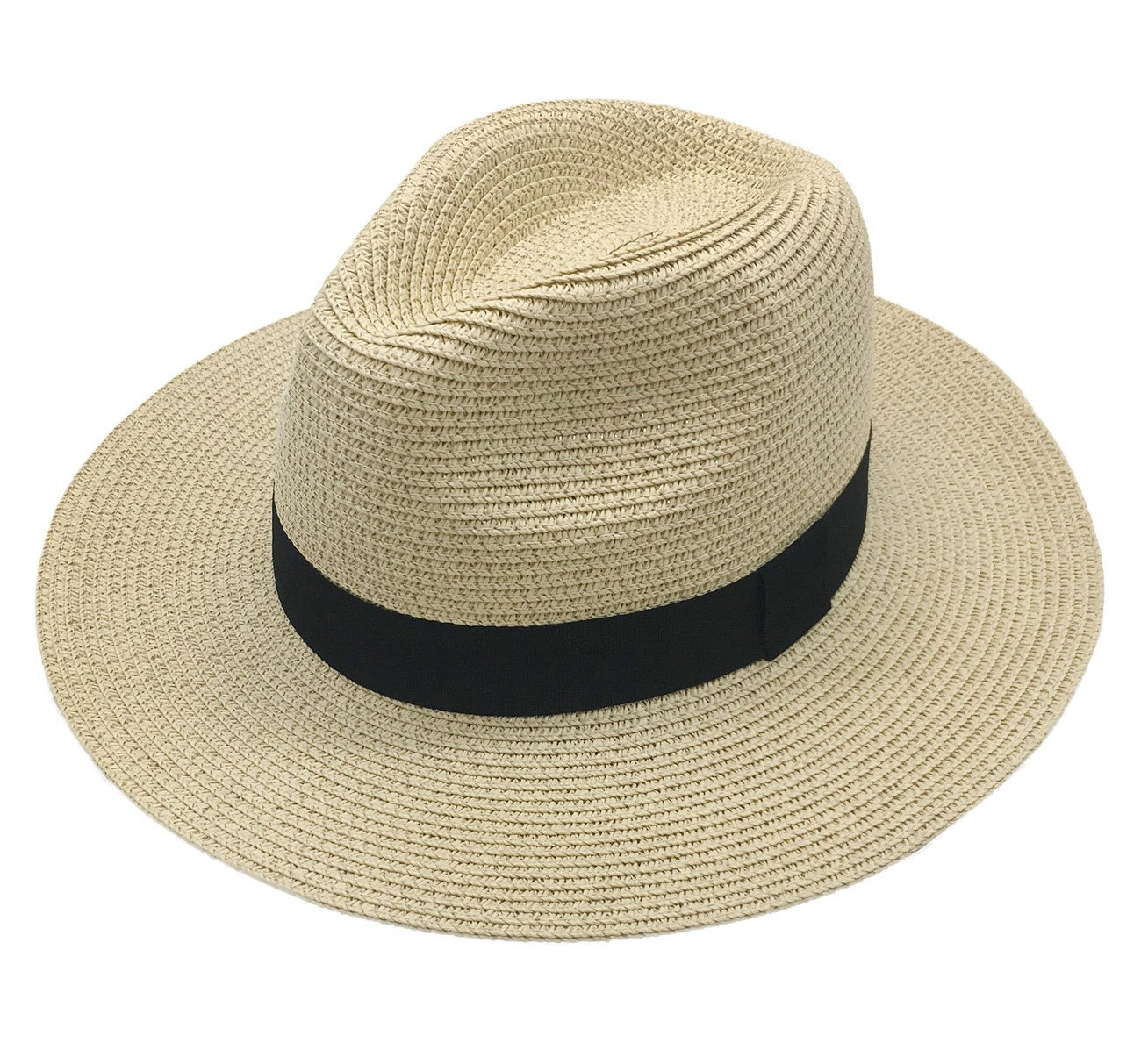 Straw Sun Hat Women Summer Fashion Fedora Wide Brim Paname Hat Packable Travel Beach Floppy Beige