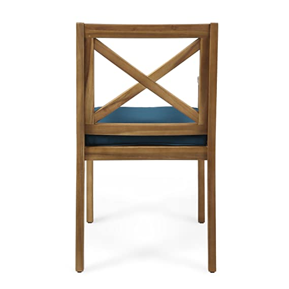 Great Deal Furniture | Peter | Outdoor Acacia Wood Dining Chair with Cushion | Set of 2 | Teak/Blue