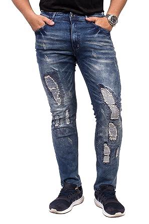 4f52e57017e38a Brands Unlimited Brooklyn Laundry Black Dark Blue Ripped Rugged Distressed Denim  Jeans for Men - BL2205