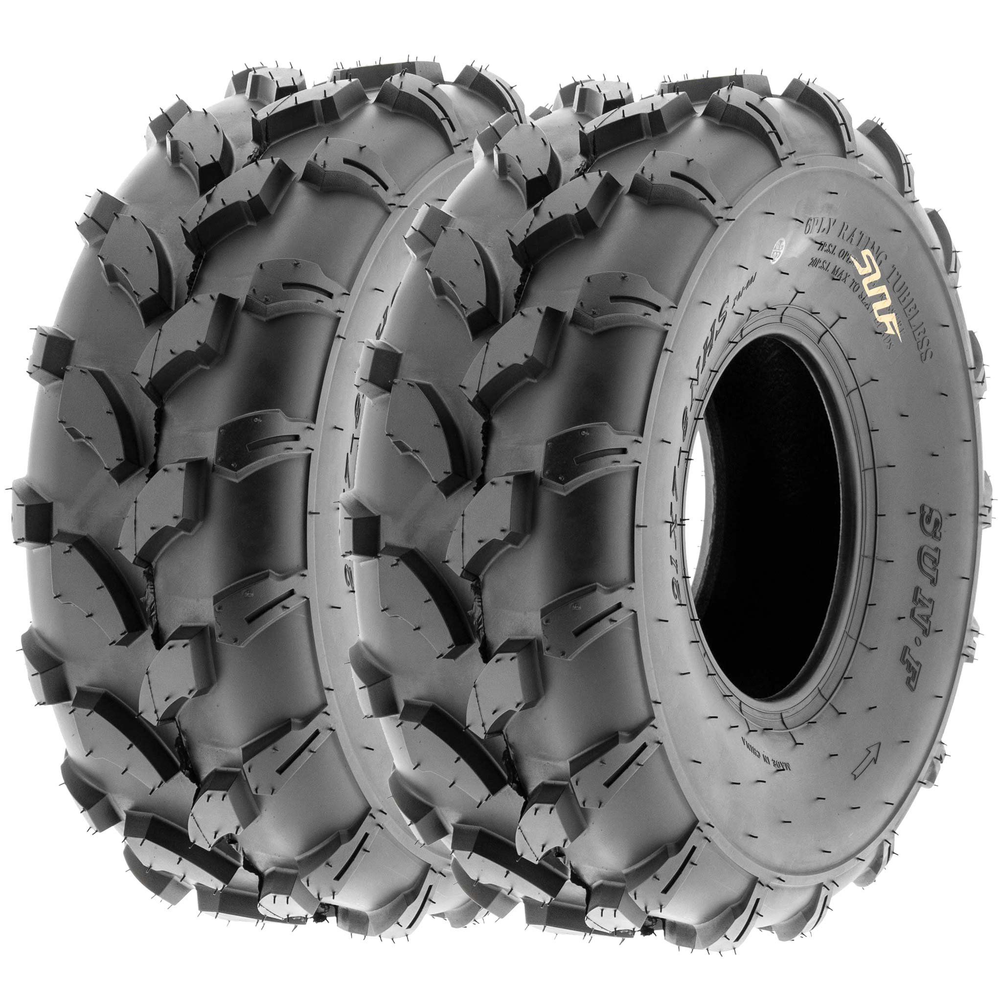 SunF 19x7-8 19x7x8 ATV UTV All Terrain Trail Replacement 6 PR Tubeless Tires A003, [Set of 2] by SUNF (Image #1)