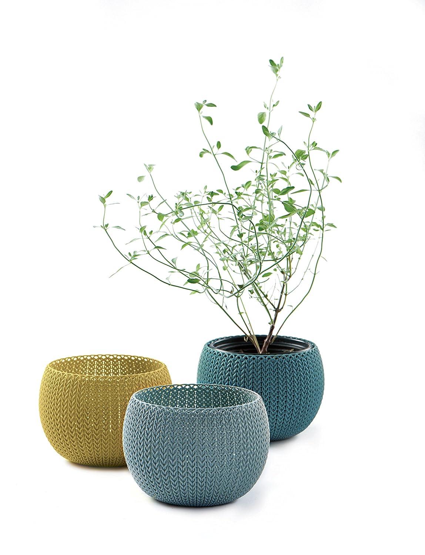 Curver COZIES Lot de 3 pots de fleurs aspect tricot Cozies Trio 1,4 L Bleu gris/citron/Océan