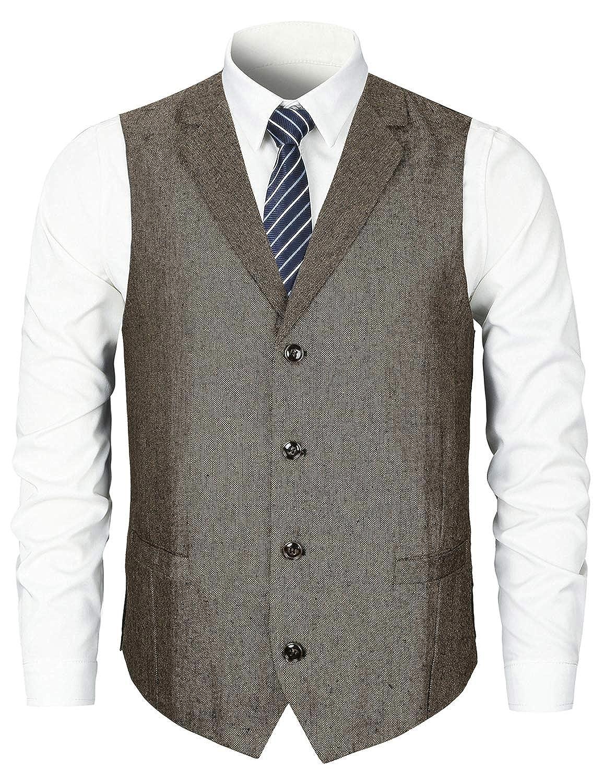 STTLZMC Leisure Gilet Costume Homme Tweed Rétro sans Manches Veste Business Mariage S-XXXL LSMAN01361LSC