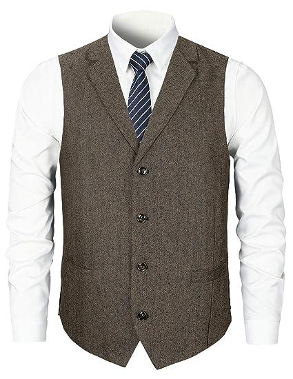 STTLZMC Chaleco Traje Hombre Sin Mangas Retro Tweed Vestir Banquete Ceremonia Casual V-Neck Blazers