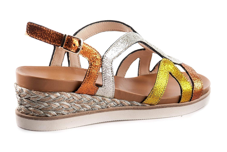 Franca Scarpe Sandalo Sandalo Sandalo Donna 1755 Arancio-Platino-Giallo PE18 fc6de7