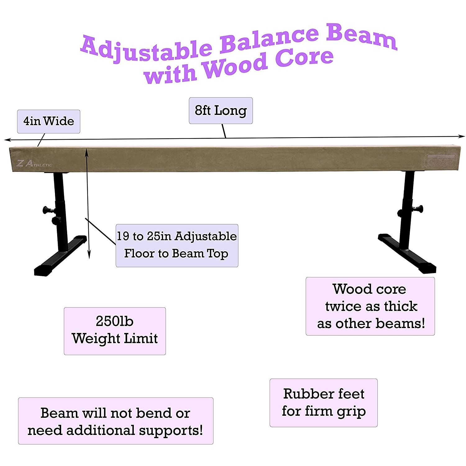 Z Athletic Childrens Training Balance Beam in Home Competition Style Multiple Sizes and Colors