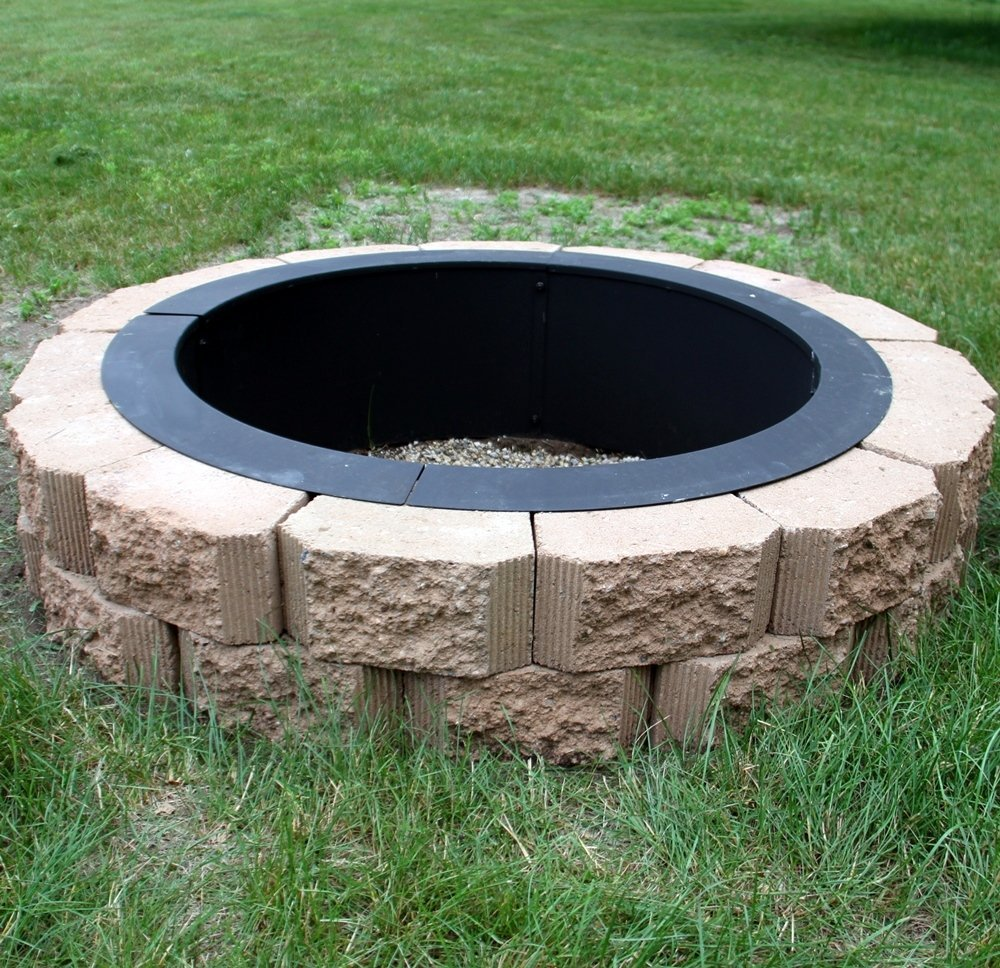 Sunnydaze durable steel fire pit ring liner diy fire pit rim above or in ground 33 inch outside