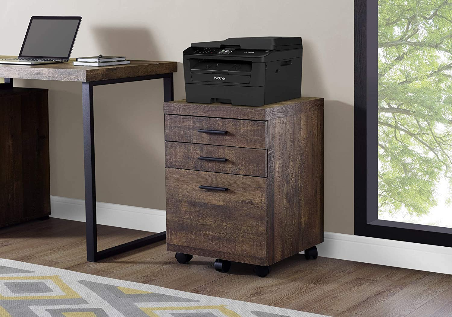 Monarch Specialties 3 Drawer File Cabinet - Filing Cabinet (Brown)