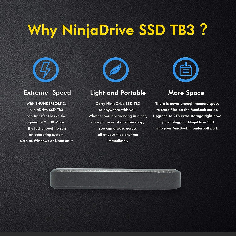 NinjaDrive SSD portátil - Thunderbolt 3 SSD Externo para ...
