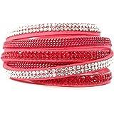 Bracelet Wrap Slake Cristal Strass Chaine brillant en cuir de daim rose