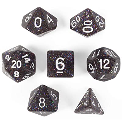 Sparklier Vomit Complete Set of 7 Premium Glitter Polyhedral Dice Edition with More Sparkles - Compatible with Most Tabletop RPG Board Games, Comes with Clear and Labled Display Box: Toys & Games