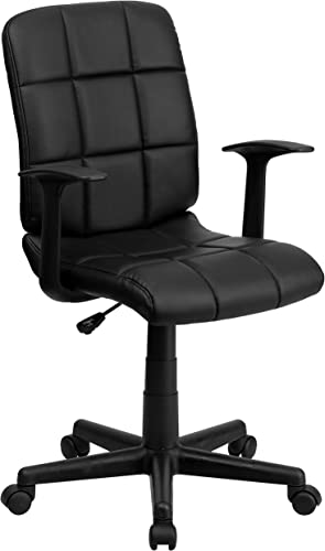 Flash Furniture Mid-Back Black Quilted Vinyl Swivel Task Chair with Arms – GO-1691-1-BK-A-GG