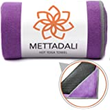 Mettadali Yoga Towel with Corner Pockets + Free Spray Bottle - Slip Resistant & Sweat Activated Gripping Microfiber - Choose Your Color & Exact Mat Size