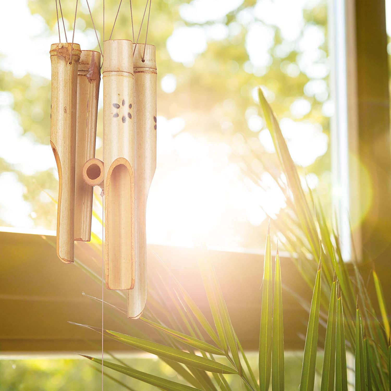 Bois d/écoration Jardin Son Feng Shui Mobile Nature Moulin /à Vent Relaxdays Carillon Bambou Taille Unique Coton 73 cm