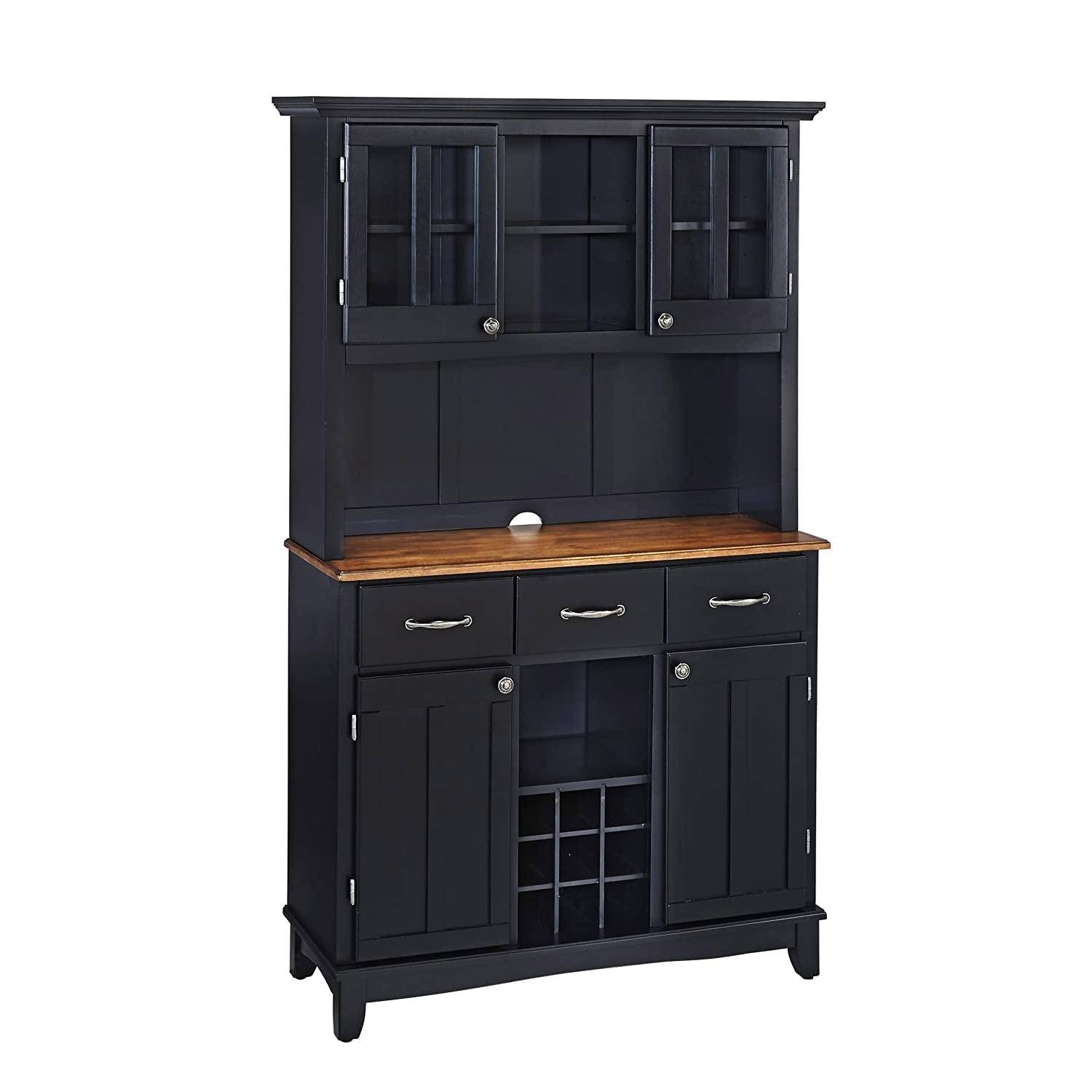 Home Styles 5100-0046-42 Buffet of Buffets Cottage Oak Wood Top Buffet with Hutch - Black Finish - 41-3-4-Inch