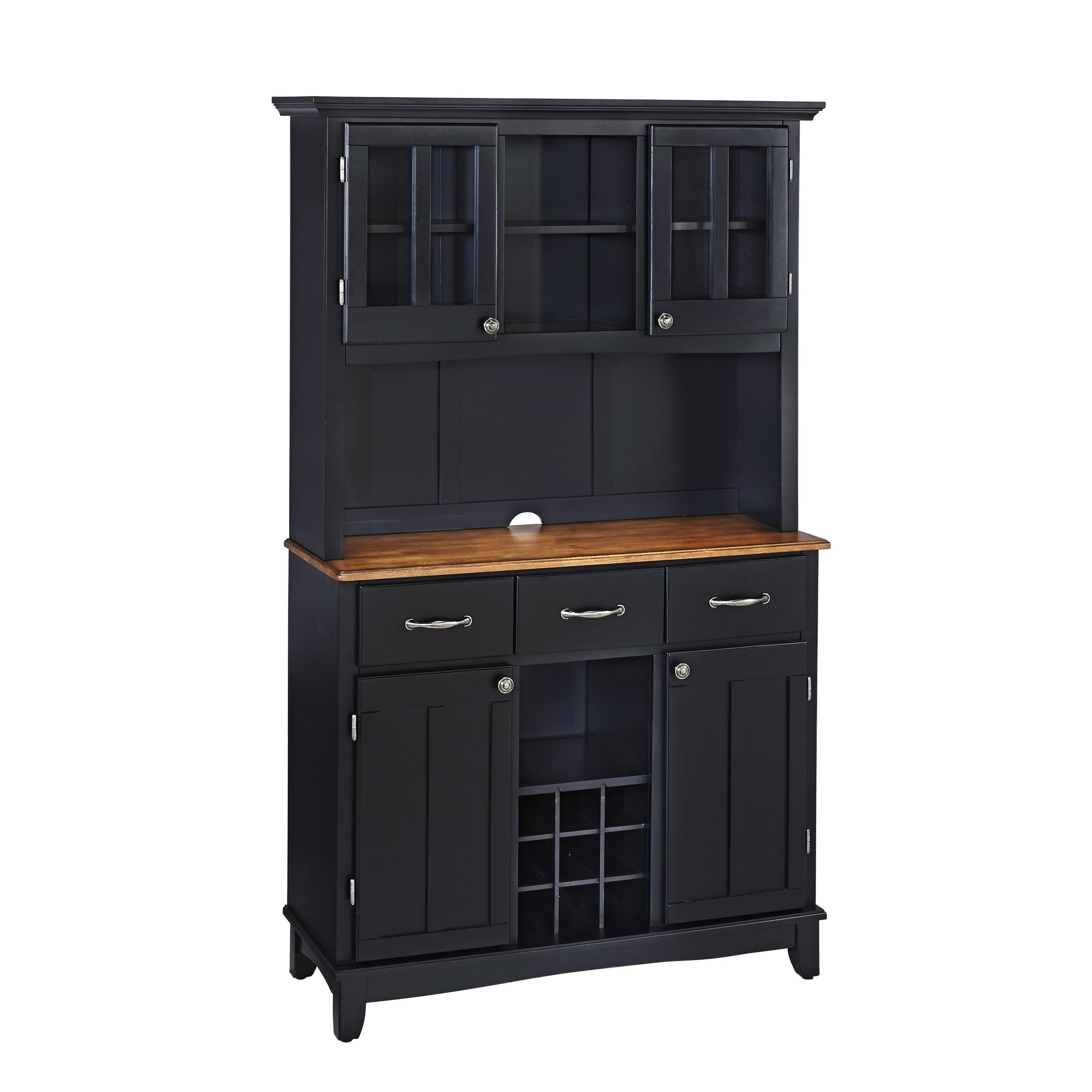 Buffet of Buffets Black with Cottage Oak Wood Top with Hutch by Home Styles, Large Server with Cottage Oak Wood Top & Hutch by Home Styles