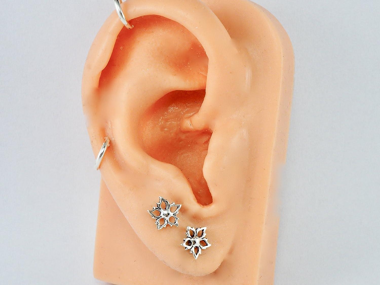 8mm 925 Sterling Silver Cartilage Earrings Post Ear Stud Flower Minimal Plain Small 5//16 GreenCatJewelry 20 gauge 0.8mm