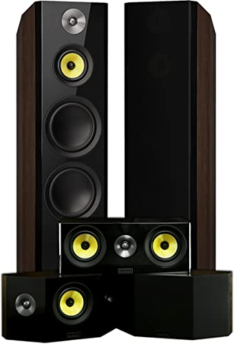 Fluance Signature Series Surround Sound Home Theater 5.0 Channel Speaker System Including Three-Way Floorstanding Towers, Center Channel, and Bipolar Speakers – Walnut HF50WB