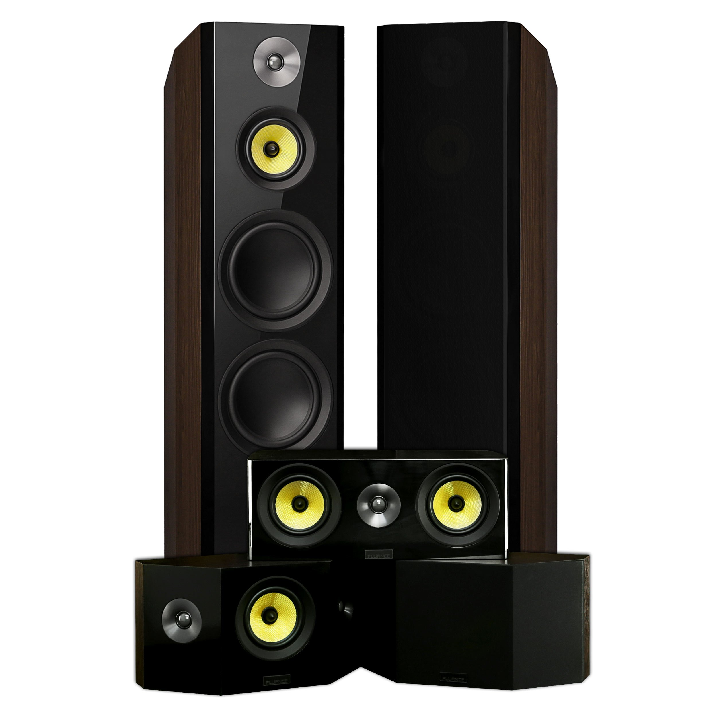 Fluance Signature Series Surround Sound Home Theater 5.0 Channel Speaker System including Three-way Floorstanding Towers, Center Channel, and Bipolar Speakers – Walnut (HF50WB) by Fluance