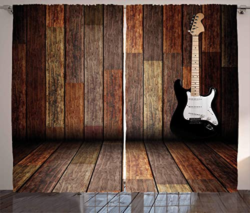 Ambesonne Popstar Party Curtains, Electric Guitar in The Wooden Room Country House Interior Music Theme, Living Room Bedroom Window Drapes 2 Panel Set, 108 W X 96 L Inches, Black Brown