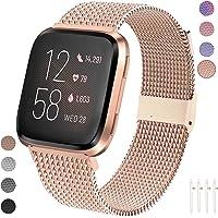 Qunbor Correa Compatible con Fitbit Versa/Versa Lite Edition/Versa 2 para Mujer Hombre, Pulsera de Repuesto de Acero Inoxidable para Fitbit Versa Smartwatch Accesorio Pequeño Grande (Rose Gold L)