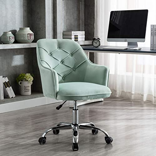 SSLine Modern Cute Desk Chair Home Office Mid-Back Computer Chair on Wheels Elegant Velvet Fabric Task Chair Living Room Upholstery Swivel Chair Vanity Chair