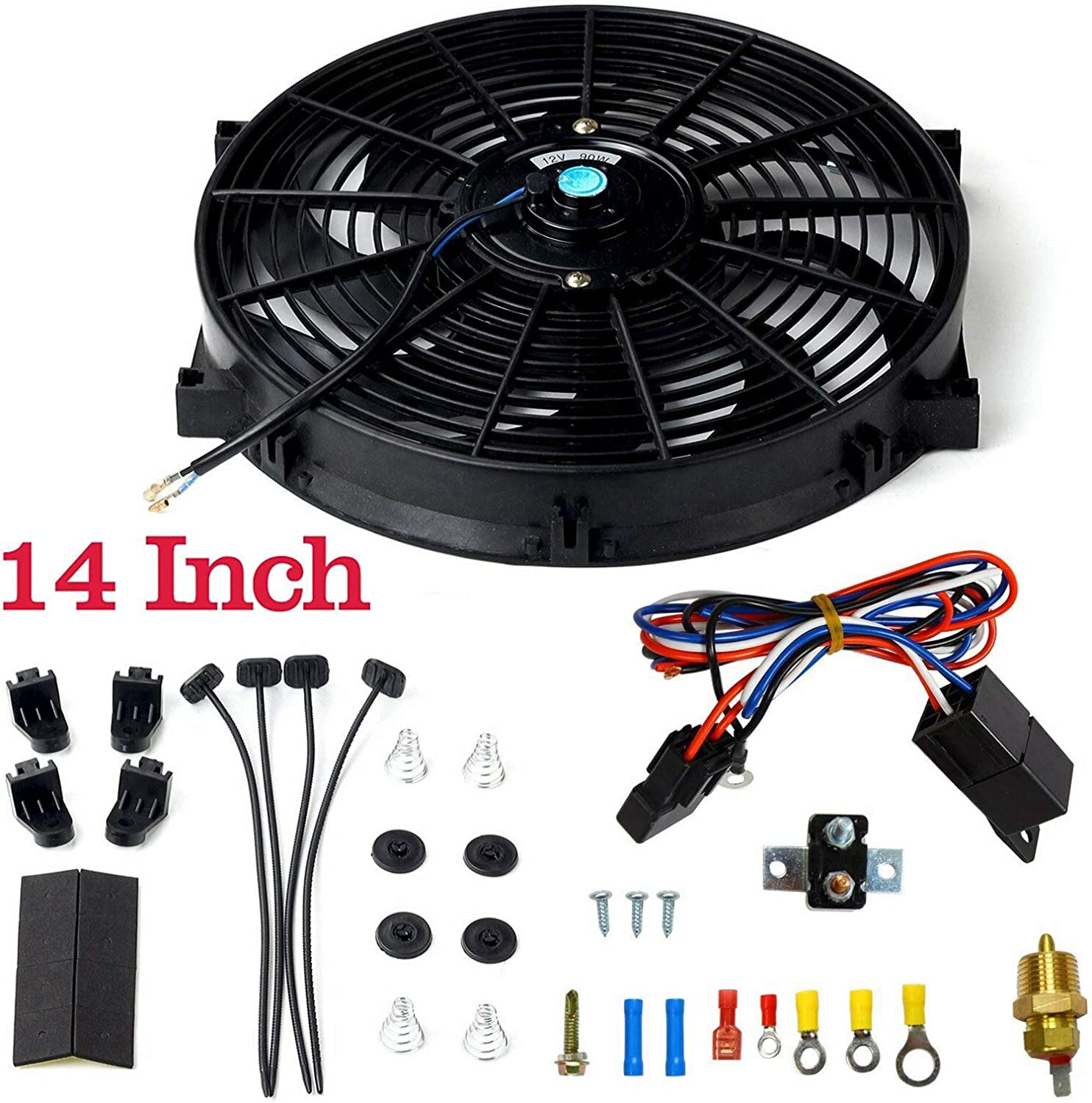 "BLACKHORSE-RACING 14"" Universal Electric Radiator Cooling Fans + Thermostat Relay & Mount Kit"