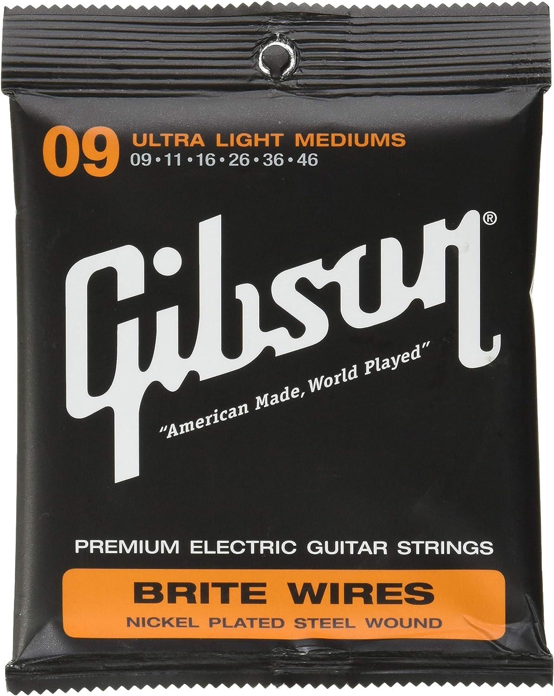 Gibson cables SEG-700L engranaje Brite Cuerda Cuerdas para guitarra eléctrica Ultra Ligero 9-46