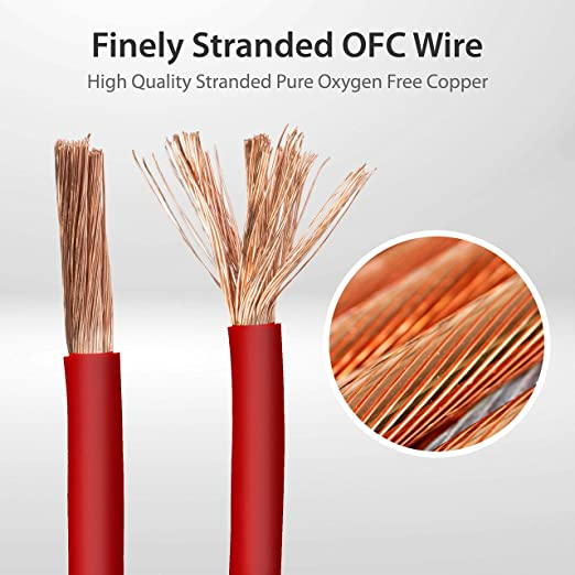 Pair of 4 Gauge AWG 100/%OFC Copper VLYNX Cables 4ga Wires