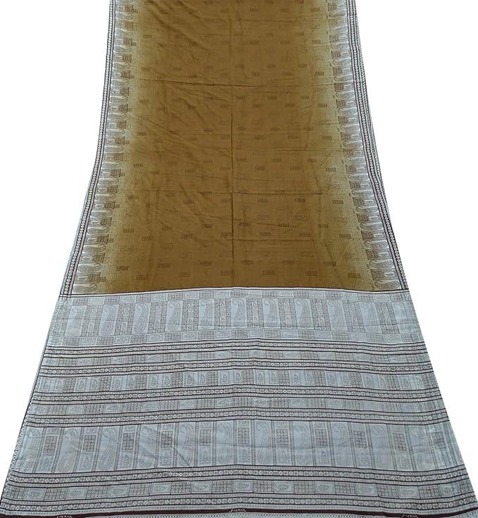 PEEGLI Indio Vintage Saree Marrón Velo Usado Art º Decoración Seda Mezcla DIY Arte Usado Tela Casual Vestir Casa Decoración Abstracto Étnico Moda Sari: ...