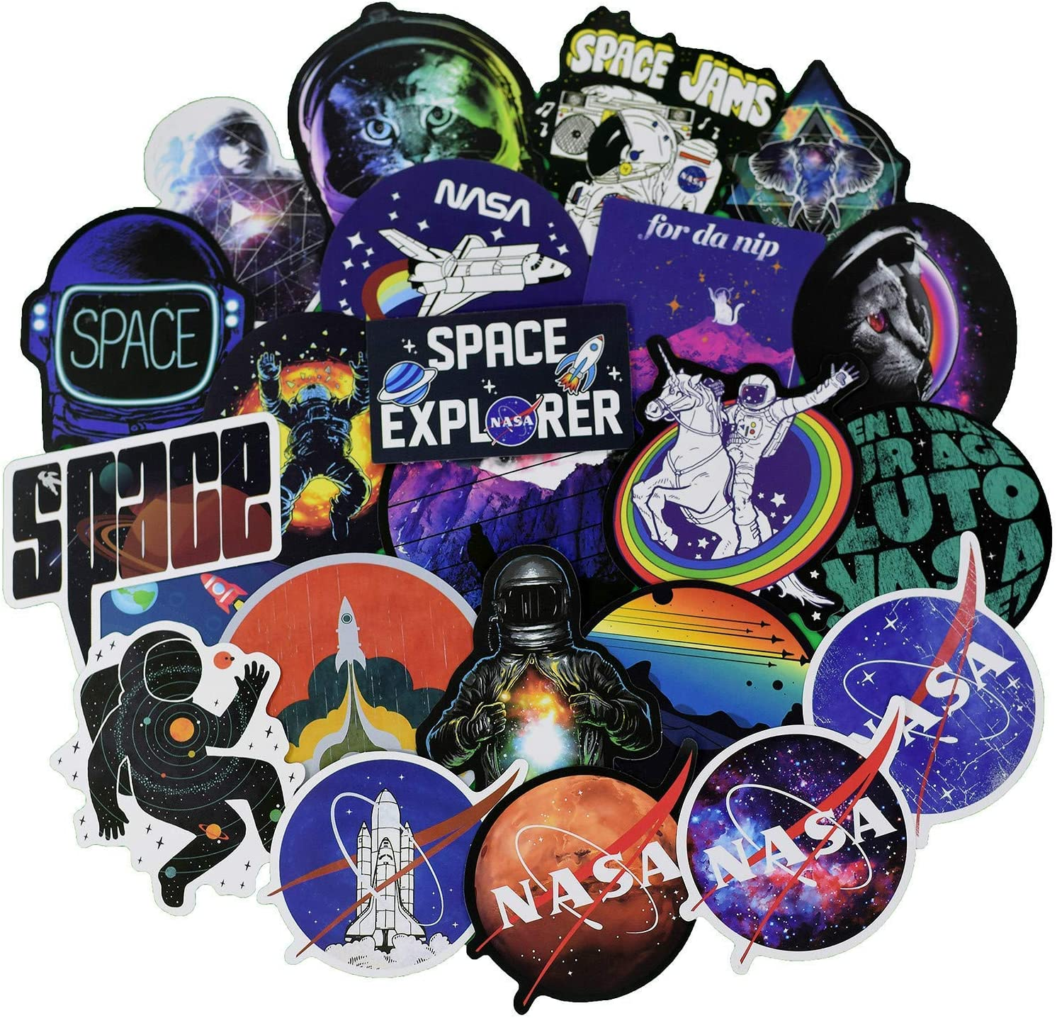 100pcs Universe NASA Stickers Pack Space Explorer Stickers Astronaut Decals for Laptop Ipad Car Luggage Water Bottle Helmet