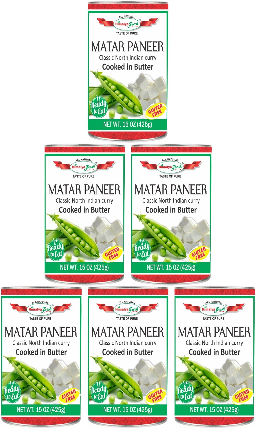 HIMALYA FRESH Authentic Indian Food Ready To Eat Canned Matar Paneer, All Natural 6 Cans/15 Oz Ea. - Gluten Free Curry Cooked In Butter - Vegetarian, No Fillers Or Preservatives