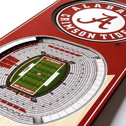 Amazon Com Ncaa Alabama Crimson Tide Bryant Denny Stadium 3d Banner Team Colors 6 X 19 Sports Outdoors