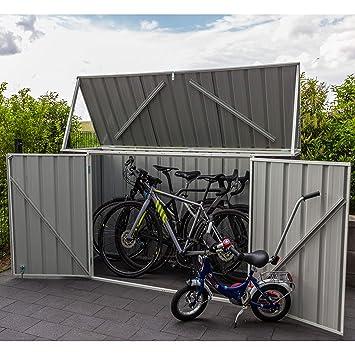 Absco Fahrradbox Metallgerätebox Fahrradgarage Mülltonnenbox Grau 225x78x115 Cm Aufbewahrungsbox