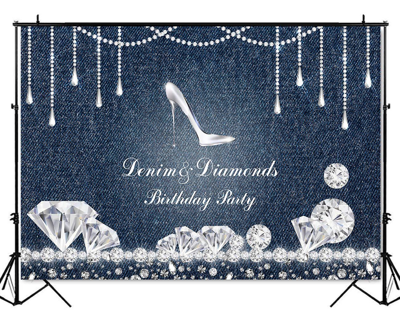 Mehofoto Denim And Diamonds Birthday Party Backdrop High Heel Birthday Background 7x5ft Vinyl Birthday Party Banner Supplies Event Decoration